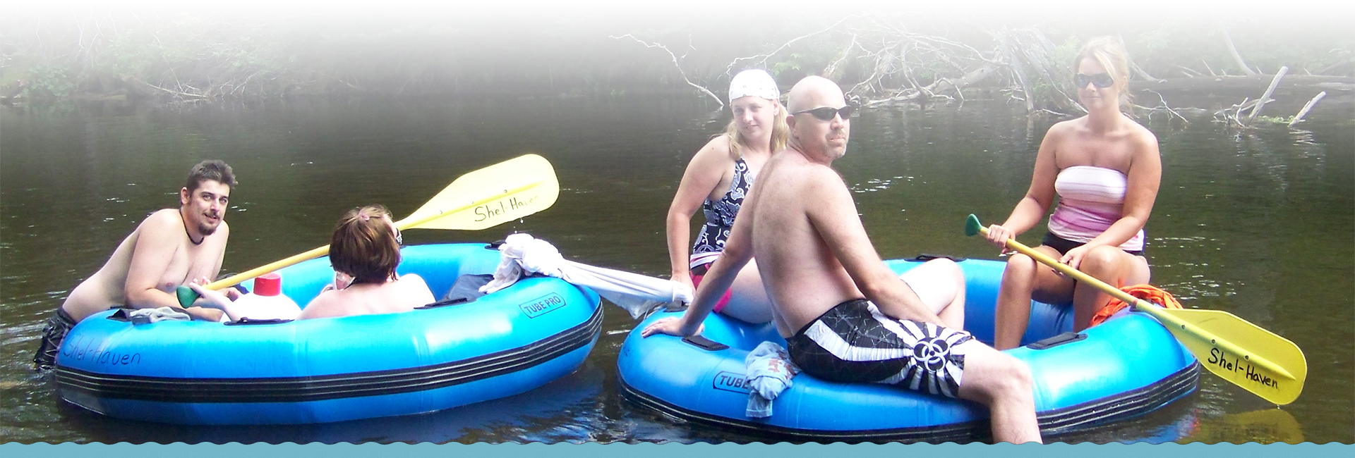 Tubing down the manistee river with Shel-haven